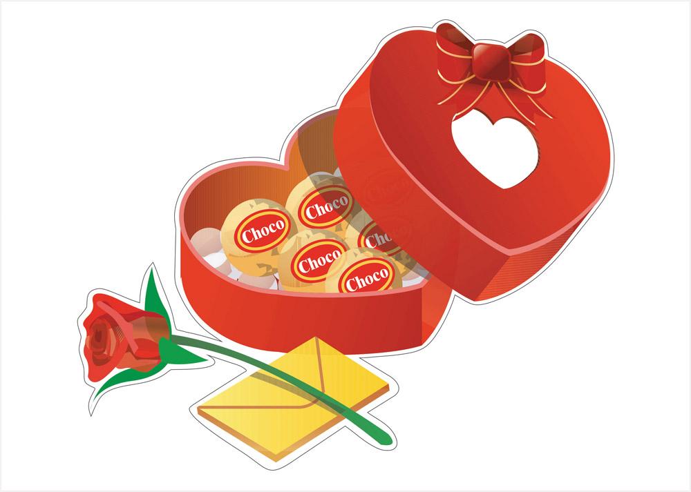 Наклейки Коробка конфет, дизайн #06611