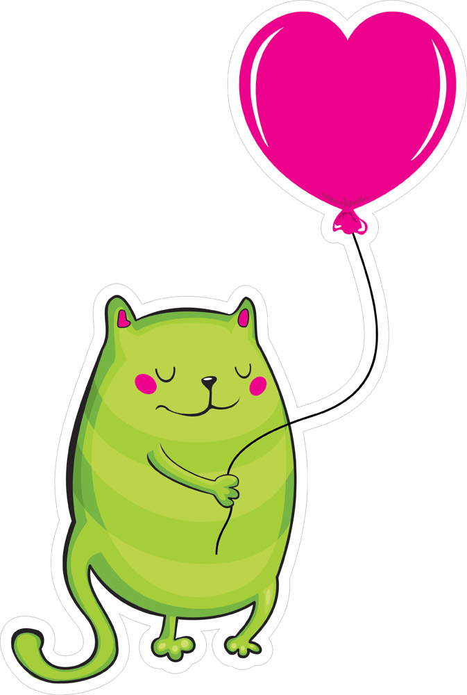 Наклейки Кот с шариком, дизайн #06616