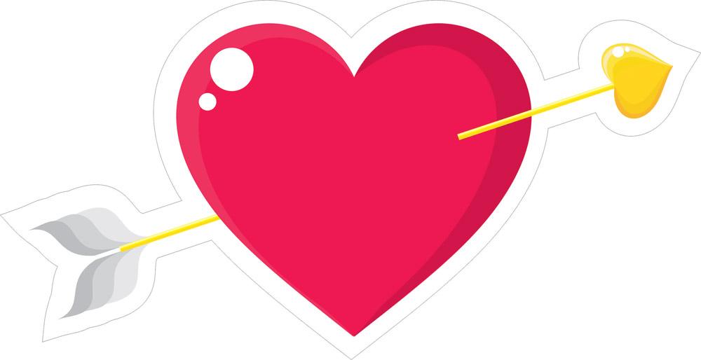 Наклейки Стрела в сердце, дизайн #06617
