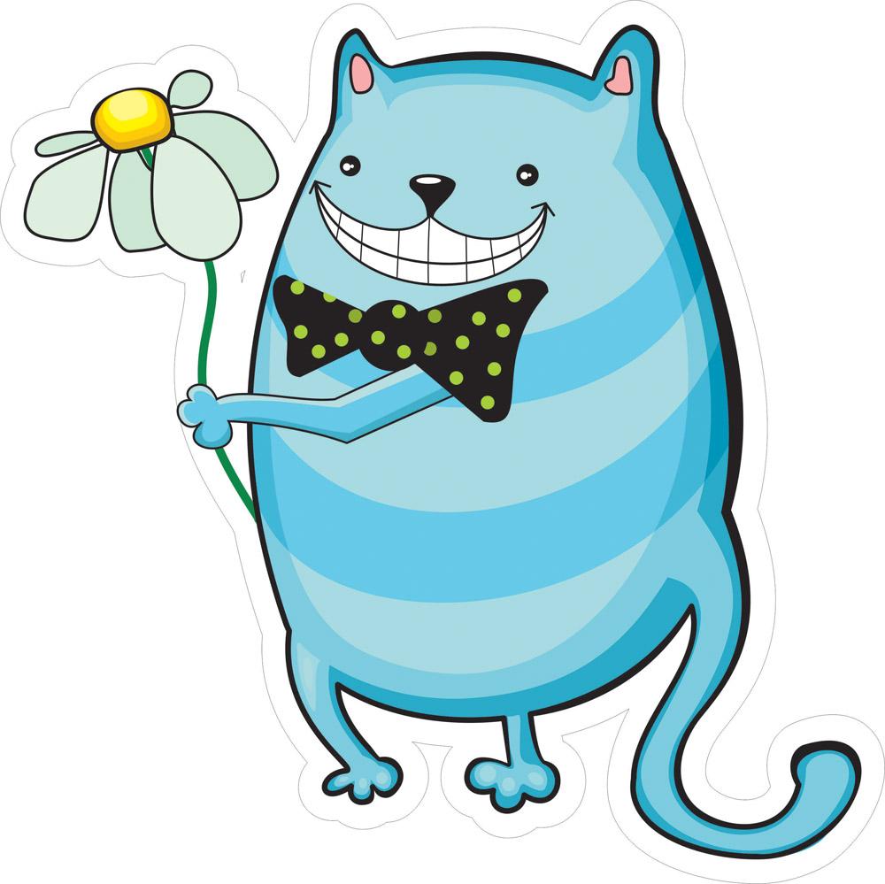 Наклейки Кот с ромашкой, дизайн #06619