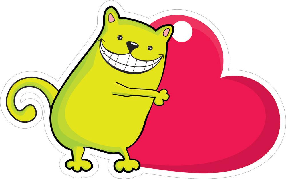 Наклейки Кот с сердцем, дизайн #06624
