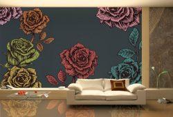 Фотообои дизайн Розы пример в интерьере