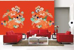 Фотообои дизайн Красные цветы пример в интерьере