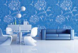 Фотообои дизайн Белые цветы пример в интерьере