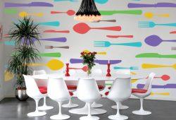 Фотообои дизайн Столовые приборы пример в интерьере