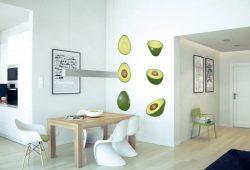 Фотообои дизайн Авокадо пример в интерьере