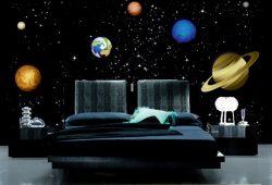 Фотообои дизайн Планеты пример в интерьере