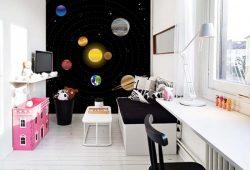 Фотообои дизайн Солнечная система пример в интерьере