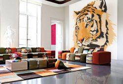 Фотообои дизайн Тигр пример в интерьере