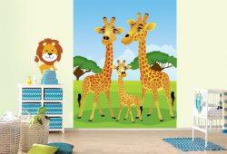 Фотообои дизайн Жирафы пример в интерьере