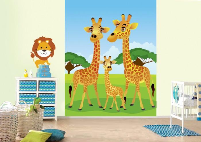 Фотообои под заказ Фотообои дизайн Жирафы пример в интерьере