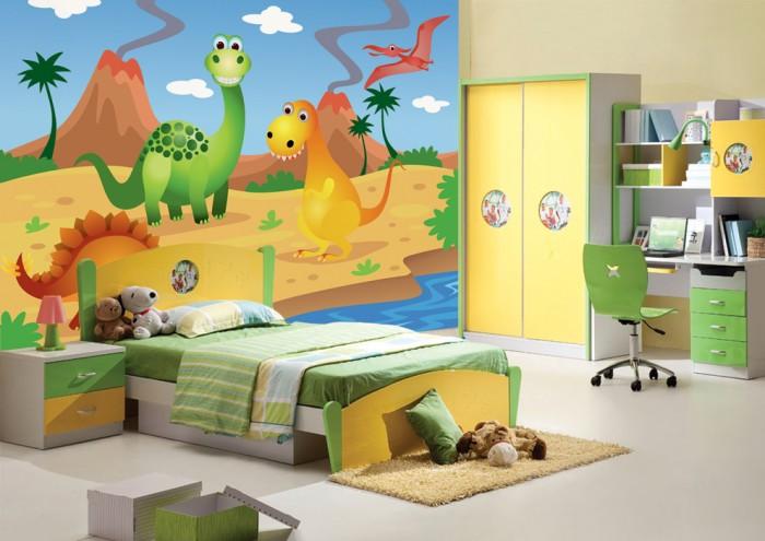 Фотообои под заказ Фотообои дизайн Динозавры пример в интерьере