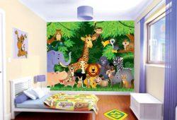 Фотообои дизайн Животные в джунглях пример в интерьере