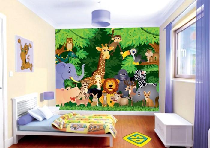 Фотообои под заказ Фотообои дизайн Животные в джунглях пример в интерьере