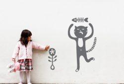 Наклейки дизайн Кошачье счастье пример в интерьере