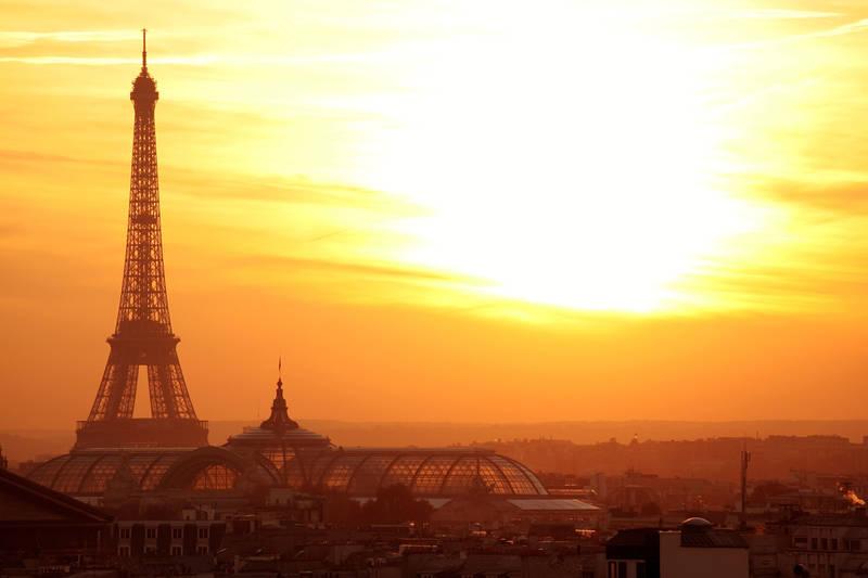 Фотообои под заказ Закат над Эйфелевой башней