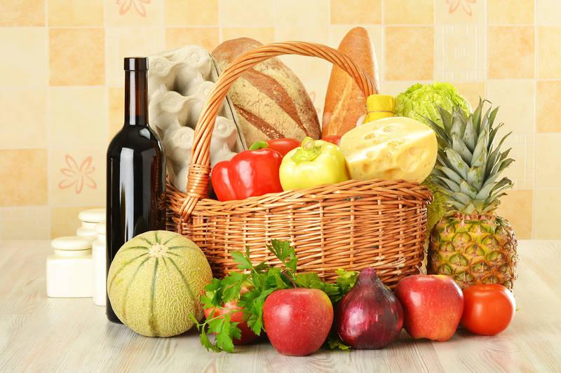 Фотообои под заказ Корзина с овощами и фруктами