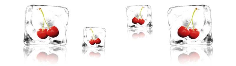 Скинали для кухни Вишня в кубиках льда