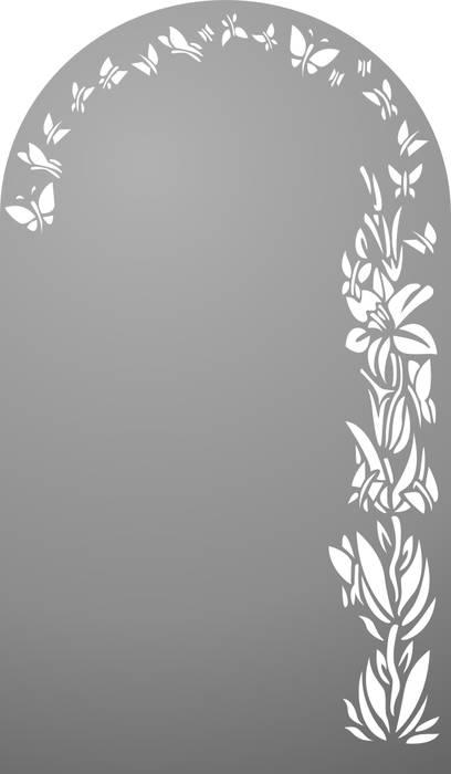 Матирование стекла Цветы и бабочки