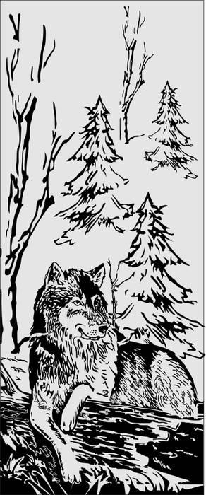 Матирование стекла Волк в лесу