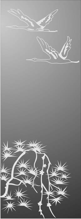 Матирование стекла Журавли