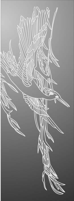 Матирование стекла Птица