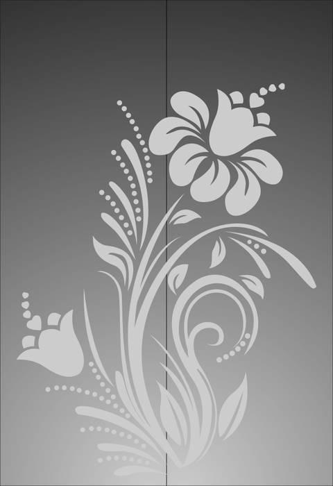 Матирование стекла Цветы