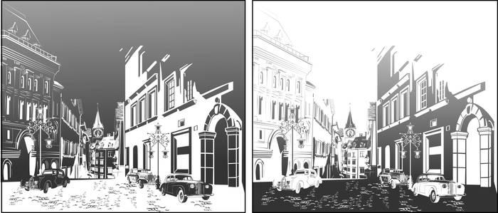 Матирование стекла Улица города