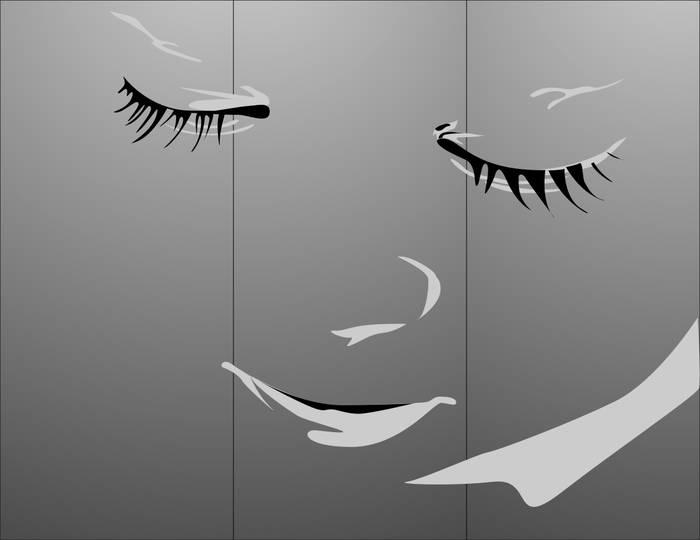 Матирование стекла Закрытые глаза