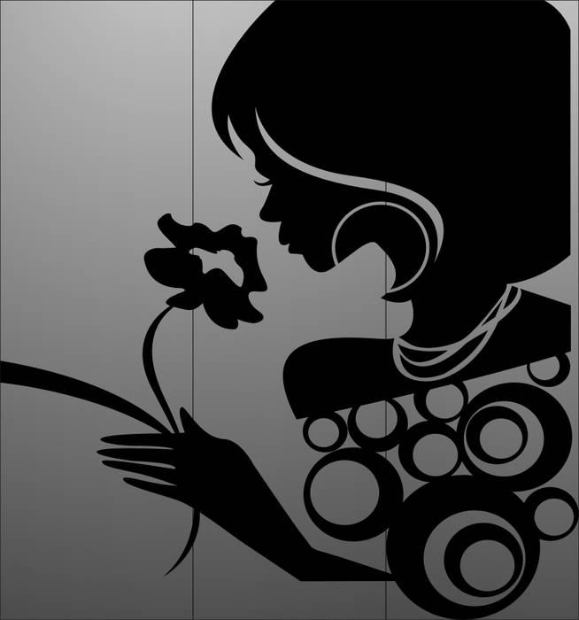 Матирование стекла Девушка с цветком