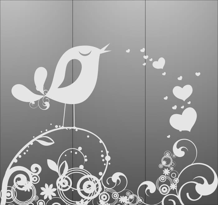 Матирование стекла Поющая птичка