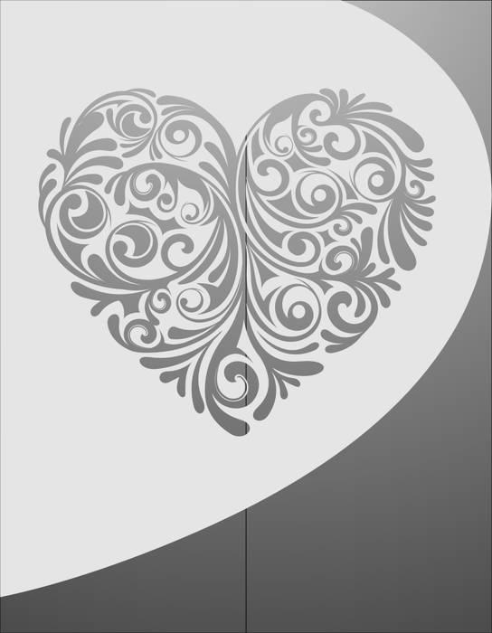 Матирование стекла Сердце