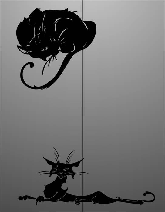 Матирование стекла Два кота