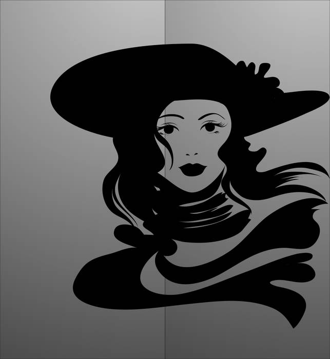 Матирование стекла Девушка в шляпе
