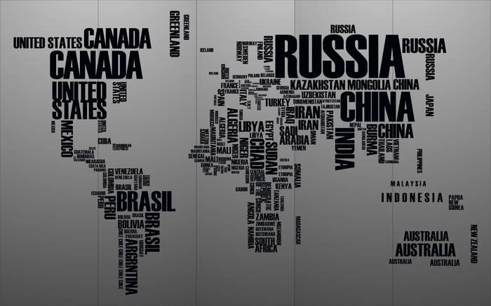 Матирование стекла Карта мира
