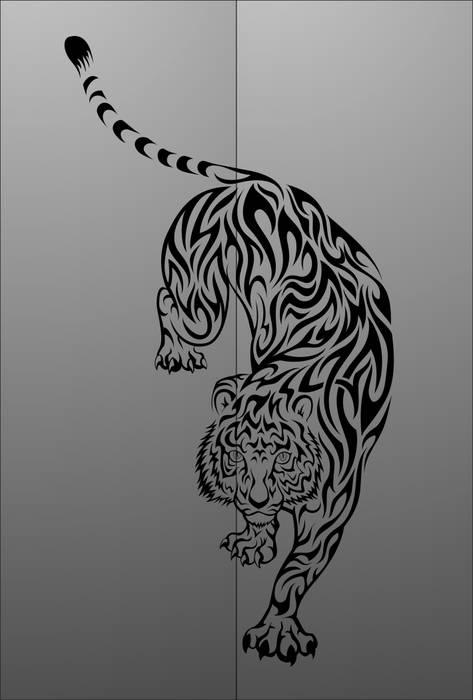 Матирование стекла Тигр