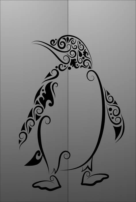 Матирование стекла Пингвин