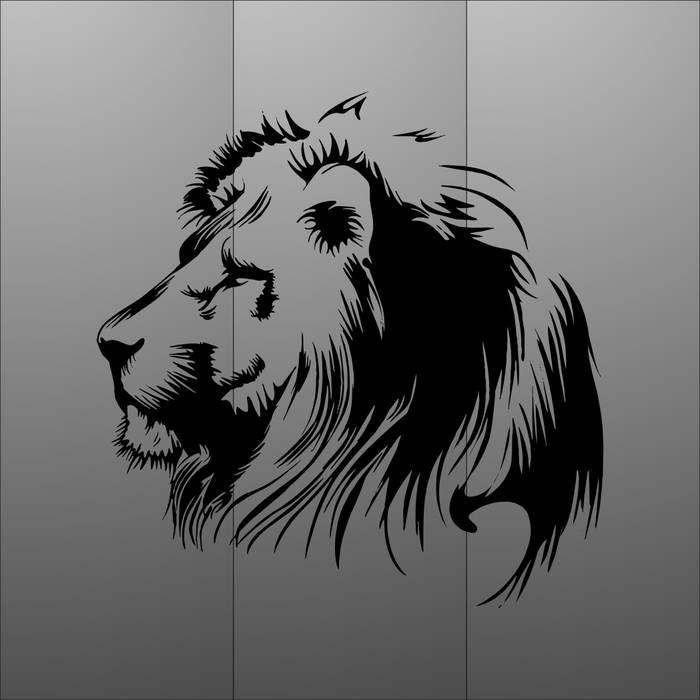 Матирование стекла Лев