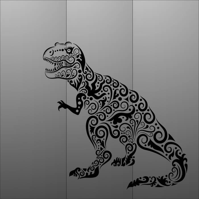 Матирование стекла Динозавр