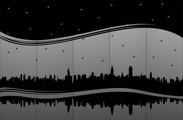 Матирование стекла Ночной город