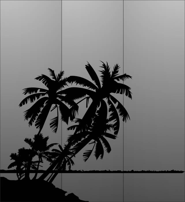 Матирование стекла Пальмы