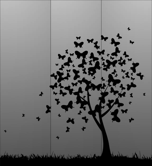 Матирование стекла Бабочки