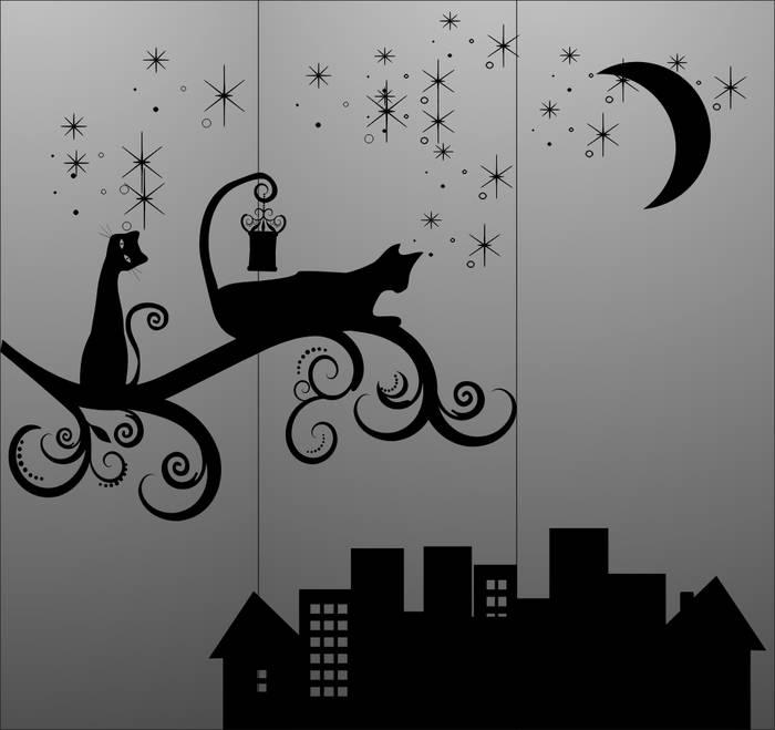 Матирование стекла Кот в городе