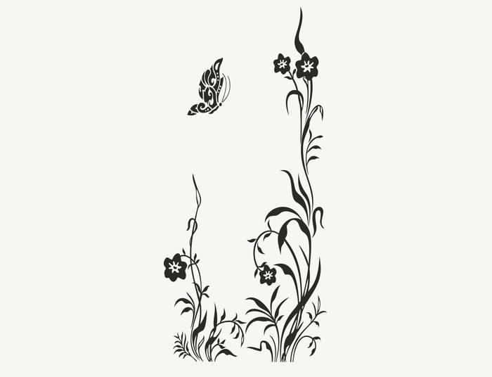 Наклейки Цветок и бабочка