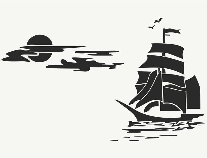 Наклейки Корабль в море