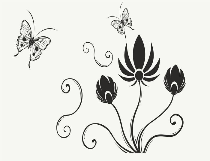 Наклейки Цветок и бабочки