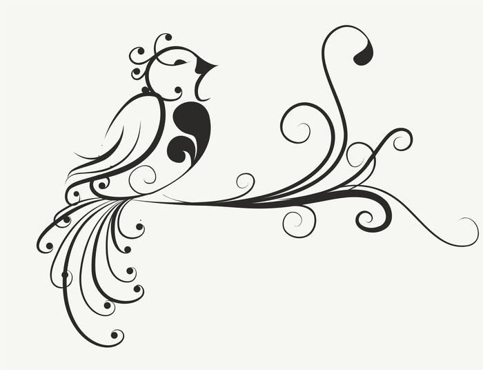 Наклейки Птица на ветке