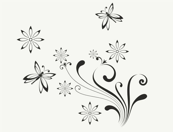 Наклейки Цветы и бабочки