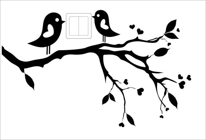 Наклейки Две птицы на ветке