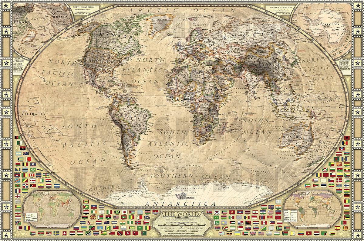 Фотообои Политическая карта, дизайн #05920